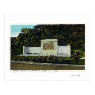 Memorial Bas Relief of the Compact Signing Postcard