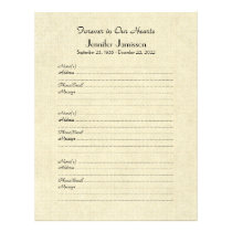 Memorial Book Filler Page, Distressed Cream Letterhead