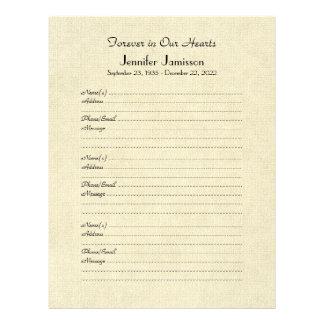 Memorial Book Filler Page, Distressed Cream Letterhead