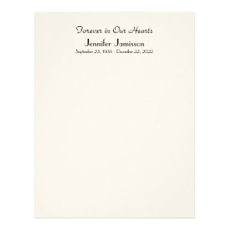 Memorial Book Filler Page, Off White Color Letterhead