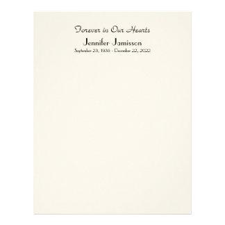 Memorial Book Filler Page, Off White Color Letterhead