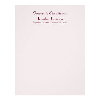 Memorial Book Filler Page, Pale Pink Letterhead