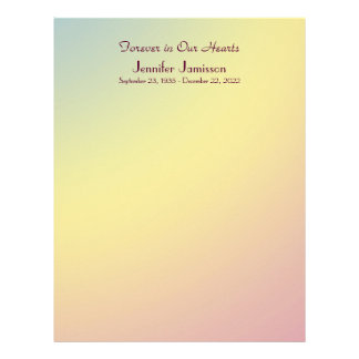 Memorial Book Filler Page, Pastel Fade Customized Letterhead