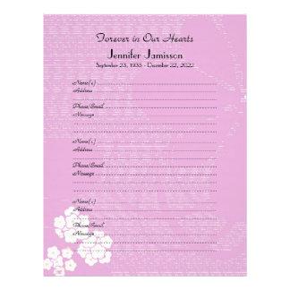 Memorial Book Filler Page, Pink Floral Letterhead