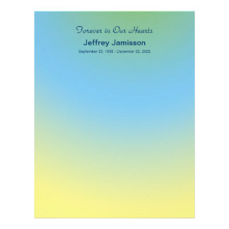 Memorial Book Filler Pages, Blue to Yellow Fade Letterhead