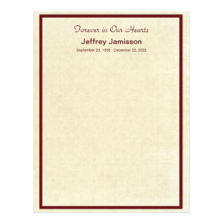 Memorial Book Filler Pages, Distressed Cream Letterhead