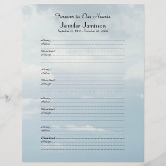 Memorial Book Filler Sign-In Page 4 Name/Pg Clouds