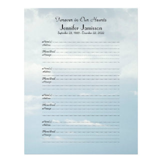 Memorial Book Filler Sign-In Page 4 Name/Pg Clouds Letterhead