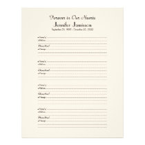 Memorial Book Filler Sign-In Page 4 Names per Page