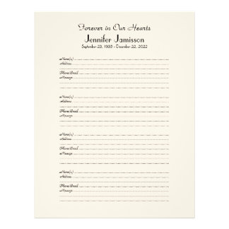 Memorial Book Filler Sign-In Page 4 Names per Page Letterhead