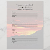 Memorial Book Filler Sign-In Page Kolob Sunset