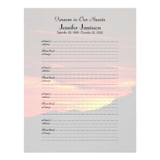 Memorial Book Filler Sign-In Page Kolob Sunset Letterhead