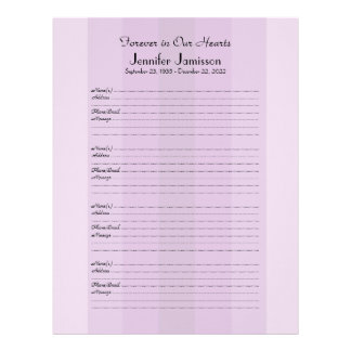Memorial Book Filler Sign-In Page Purple Stripe Letterhead