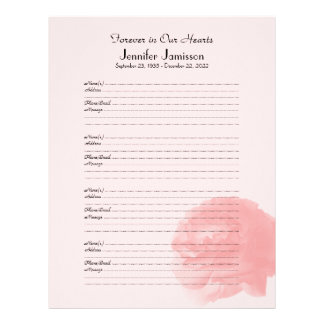 Memorial Book Filler Sign-In Page, Rose at Bottom Letterhead