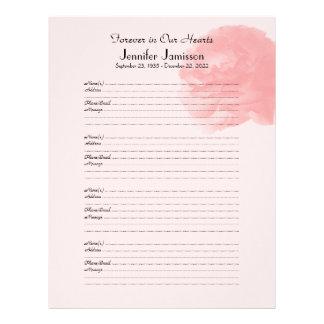 Memorial Book Filler Sign-In Page Rose at Top