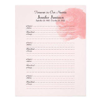 Memorial Book Filler Sign-In Page Rose at Top Letterhead