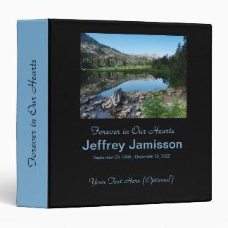 Memorial Book, Reflection in Lake, Blue Spine Vinyl Binder