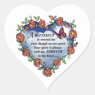 Memorial Butterfly Poem Heart Sticker