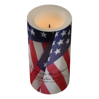 Memorial Candle American Flag Forever in Our Heart