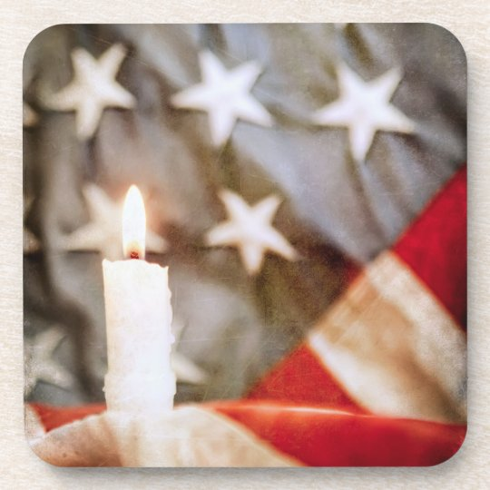 Memorial Candle with Flag Beverage Coaster