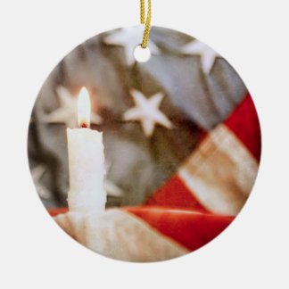Memorial Candle with Flag Ceramic Ornament
