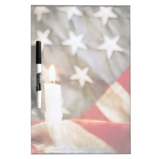 Memorial Candle with Flag Dry-Erase Board