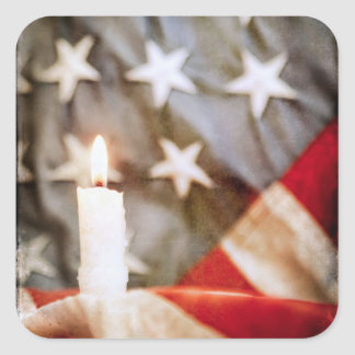 Memorial Candle with Flag Square Sticker