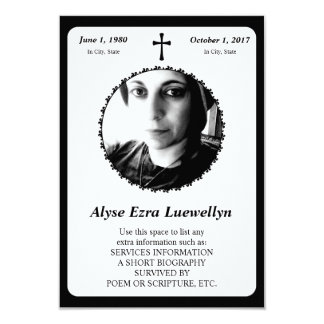 "memorial card . elegant cross 3.5"" x 5"" invitation card"