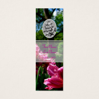 Memorial Card Floral Photo Pink tulip Bookmark
