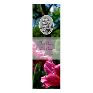 Memorial Card Floral Photo Pink tulip Bookmark Business Card