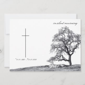 Memorial Card in silent mourning - tree on  meadow