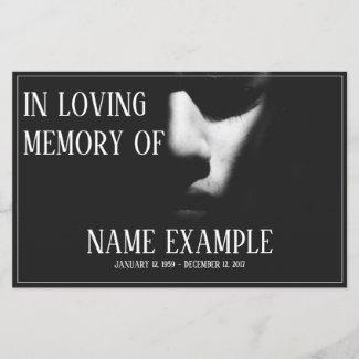 Memorial Cards - A sleeping face in half shadow