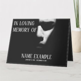 Memorial Cards - A sleeping face in half shadow - A sleeping face in half shadow