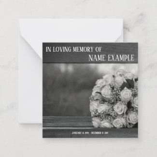 Memorial Cards A bouquet of white roses monochrom