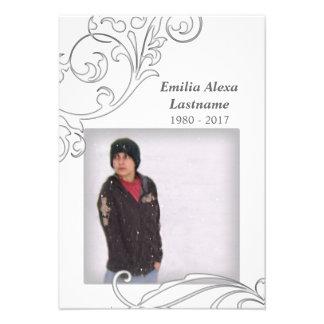 memorial cards : white flourish custom invitations