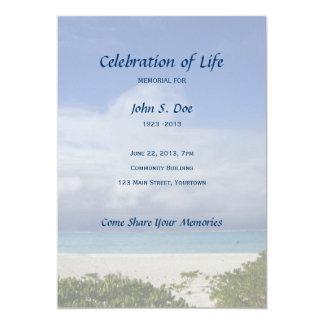 Memorial Celebration of Life - Beach Scene 5x7 Paper Invitation Card