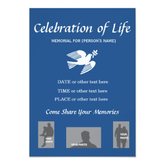 Memorial Celebration of Life - Dove of Peace Card