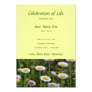 Memorial Celebration of Life - Flowers 5x7 Paper Invitation Card