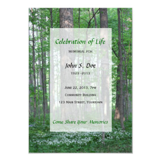 Memorial Celebration of Life - Forest Scene 5x7 Paper Invitation Card