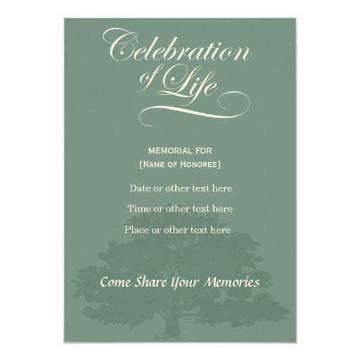 Memorial Celebration of Life Oak Tree Sage Card | Zazzle