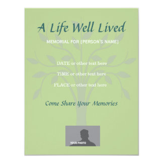 Memorial Celebration of Life Sage Green 4.25x5.5 Paper Invitation Card