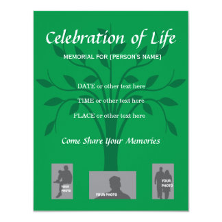Memorial Celebration of Life - Tree design 4.25x5.5 Paper Invitation Card