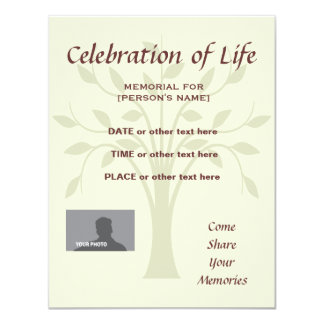 Memorial Celebration of Life Tree of Life burgundy Card