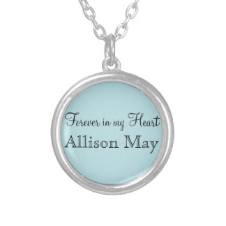 Memorial Charm for Wedding Bouquet in Blue Silver Plated Necklace