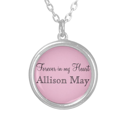 Memorial Charm for Wedding Bouquet in Pink Silver Plated Necklace