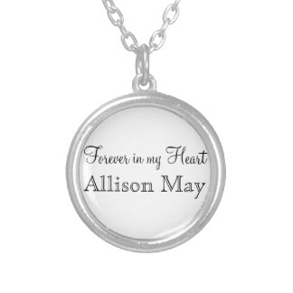 Memorial Charm for Wedding Bouquet in White Silver Plated Necklace