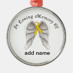 Memorial Christmas Ornament Gold Ribbon Childhood
