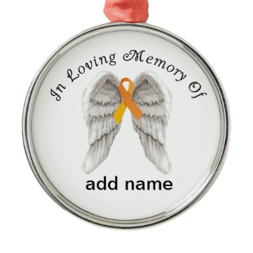Christmas Themed Memorial Christmas Ornament Orange  Ribbon