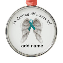 Memorial Christmas Ornament Teal  Ovarian Cancer