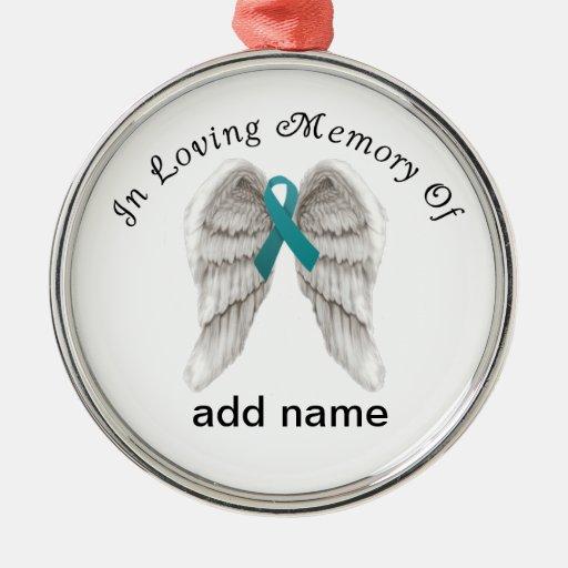 Memorial Christmas Ornament Teal Ovarian Cancer